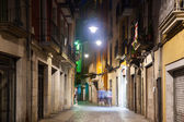 Night view of old street of european city — Stock Photo