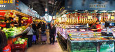 Interior of Boqueria market. Barcelona — Stock Photo