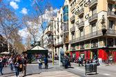 View of Barcelona, La Rambla — Stock Photo