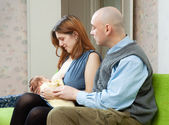 Mother breast feeding newborn — Stock Photo