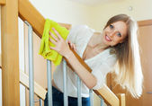 Long-haired housewife cleaning stair railings — Stock Photo