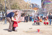 Street performer working before Sagrada Familia — Stock Photo