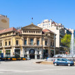 Panorama of Crossing Gran Via de les Corts Catalanes and Passeig — Stock Photo