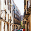 Narrow streets of Barrio Gotico. Barcelona — Stockfoto