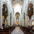 Stock Photo: Panoramic view of interior of AlmudenCathedral