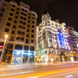 Stock Photo: Evening view of GrVistreet in Madrid, Spain