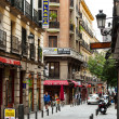 Picturesque  street with few cafe in Madrid — Stock Photo