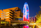 View of Barcelona, Torre agbar skyscraper in night — Stock Photo