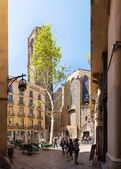 Santa Maria del Pi - Gothic church at Barrio Gotico. Barcelona — Stock Photo