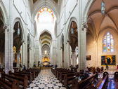 Panorama of interior of Almudena Cathedral in Madrid — Stock Photo