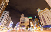 Evening view of Gran Via in Madrid, Spain — Stock Photo