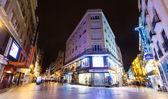 Wide angle shot of Callao Square in night. Madrid — Stock Photo