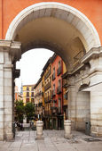 Archway of Plaza Mayor in Madrid, Spain. — Stok fotoğraf
