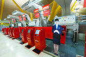 Self check-in hall of Barajas Airport — Stock Photo