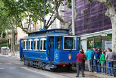 Blue tramway in Barcelona. Spain — Stock Photo