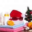 Christmas and beach accessories — Stock Photo