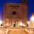 Gothic Cathedral at Girona in evening   — Stock Photo