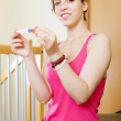 Girl with pregnancy test — Foto Stock