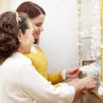 Women chooses bridal accessorie — Stock Photo