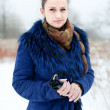 Outdoor winter portrait of quiet woman — Stock Photo