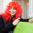 Woman in red wig  — Stock Photo