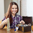 Portrait of beautiful girl with treasure chest  — Stock Photo