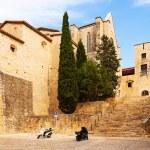 Street of medieval Girona — Stock Photo