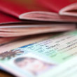Stock Photo: Passports witn Schengen visa