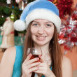 Stock Photo: Happy womcelebrating Christmas