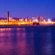 Night view of Barcelona from sea — Stock Photo