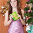 Stock Photo: Girl with christmas gift