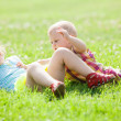 happy children playing  in grass  — Stock Photo