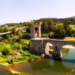 Panoramic view of two bridges in Besalu — Stock Photo