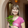 Girl with dracaena in the pot — Stock Photo