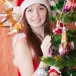 Portrait of girl in Santa hat — Stock Photo #32307487