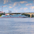 October bridge through Volga in Yaroslavl — Stock Photo #32307587