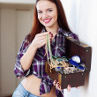 Woman with treasure chest — Stock Photo