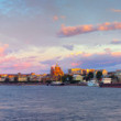 Panorama of Neva river in morning. Saint Petersburg — Stock Photo