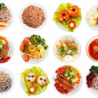 Top view of many plates with food — Stock Photo