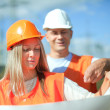 Two workers at electric power plant — Stock Photo #32308251