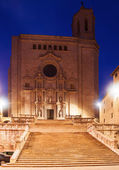 Catedral gótica de girona en la noche — Foto de Stock