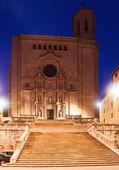 Catedral gótica em girona em noite — Foto Stock