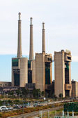 Chimneys of closed power thermal station. Barcelona, Spain — Stock Photo