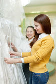 Women chooses wedding outfit — Stock Photo
