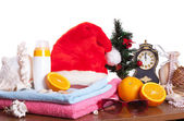 Christmas and beach accessories together — Stock Photo