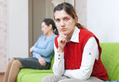 Woman and her mother having conflict — Stock Photo