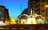 Square with fountain in night. Pamplona — Stock Photo