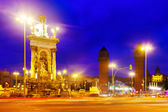 View of Spain square at Barcelona in evening — Stock Photo