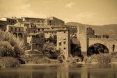 Retro photo of Antique medieval town — Stock Photo