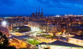 Panoramic night view of Barcelona — Stock Photo